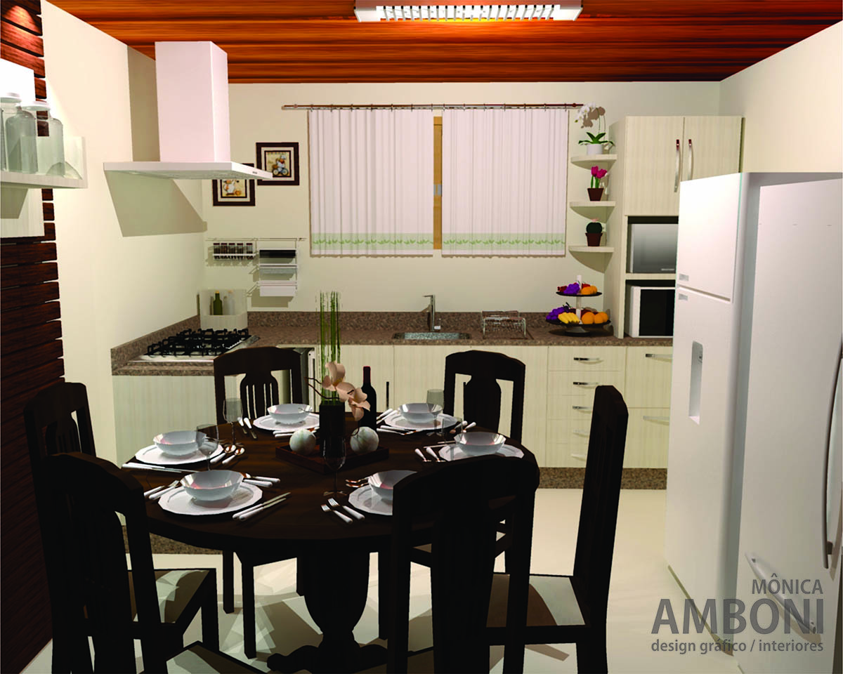 Salas De Estar E Jantar M Nica Amboni -> Cozinha Com Sala Conjugada